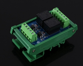 DC 12V 2-Channel Relay Module High/Low Level Trigger Optocoupler Isolator PLC Signal Converter with Rail