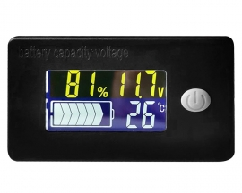 Battery Indicator Voltage and Electricity Thermometer LCD Display Voltmeter  for 10V-99V Battery