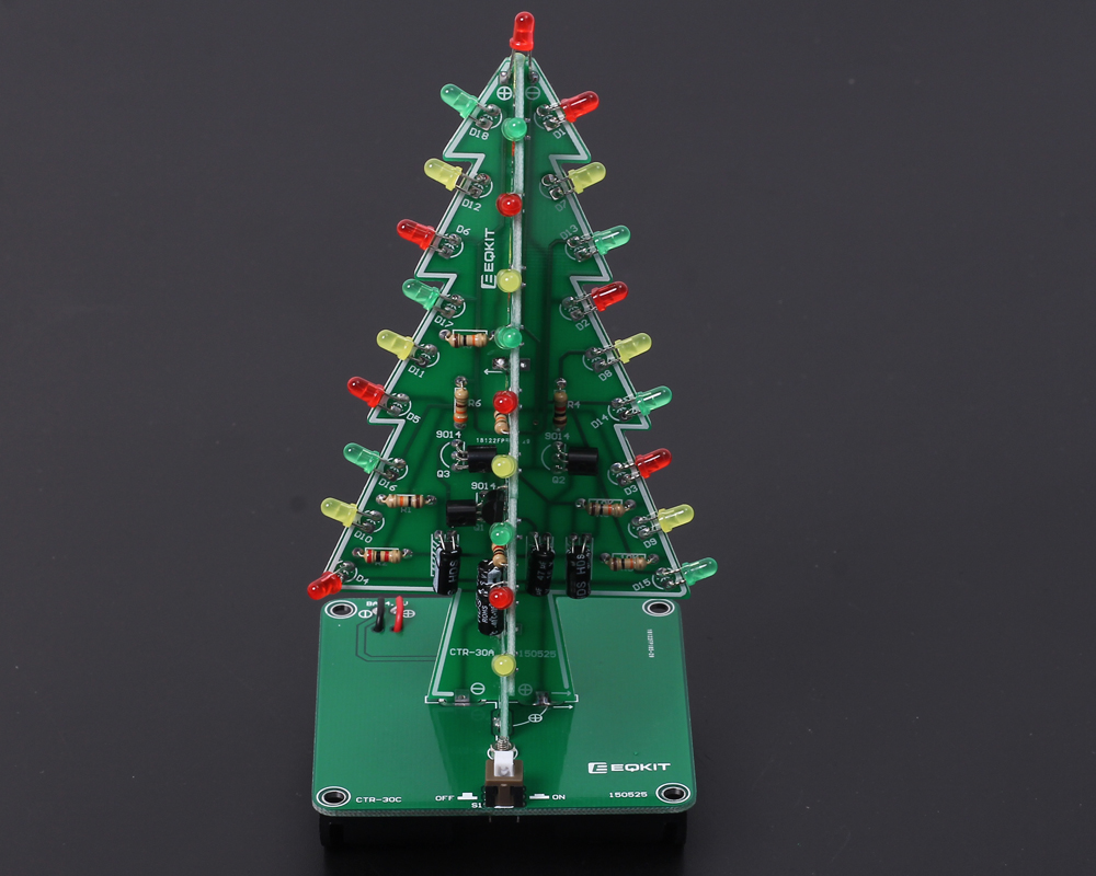 Diy Kit 3d Christmas Tree With 3 Colors Red Green Blue Flashing Small Led Flasher Circuit Sound Electronic Projects Completed Project Below